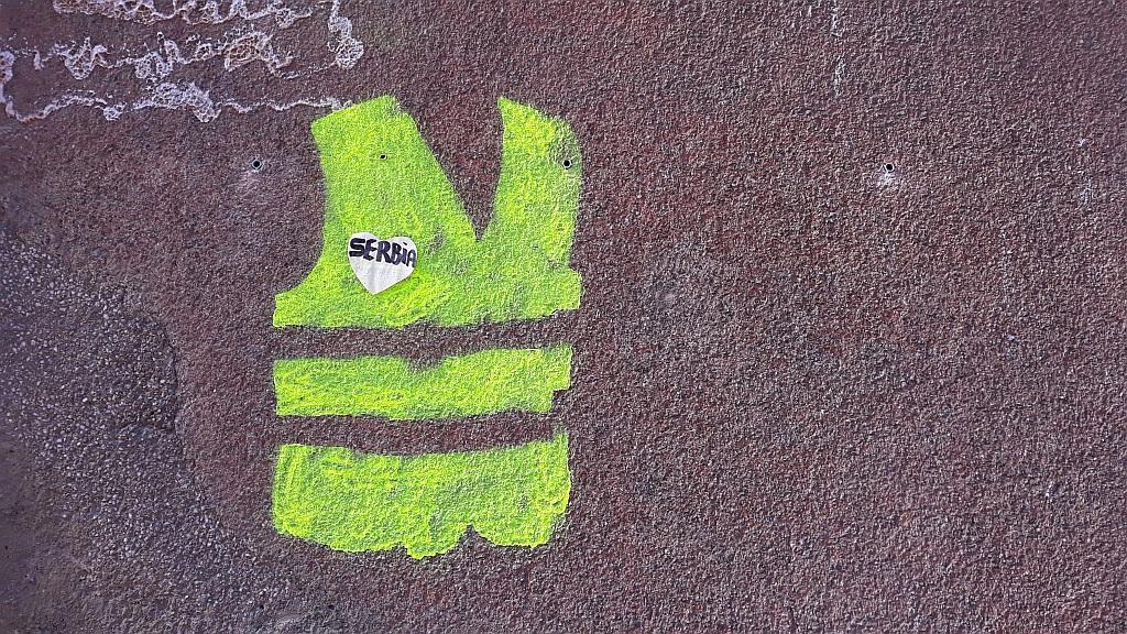 Stencil, Vračar: Gilets Jaunes . Vračar.