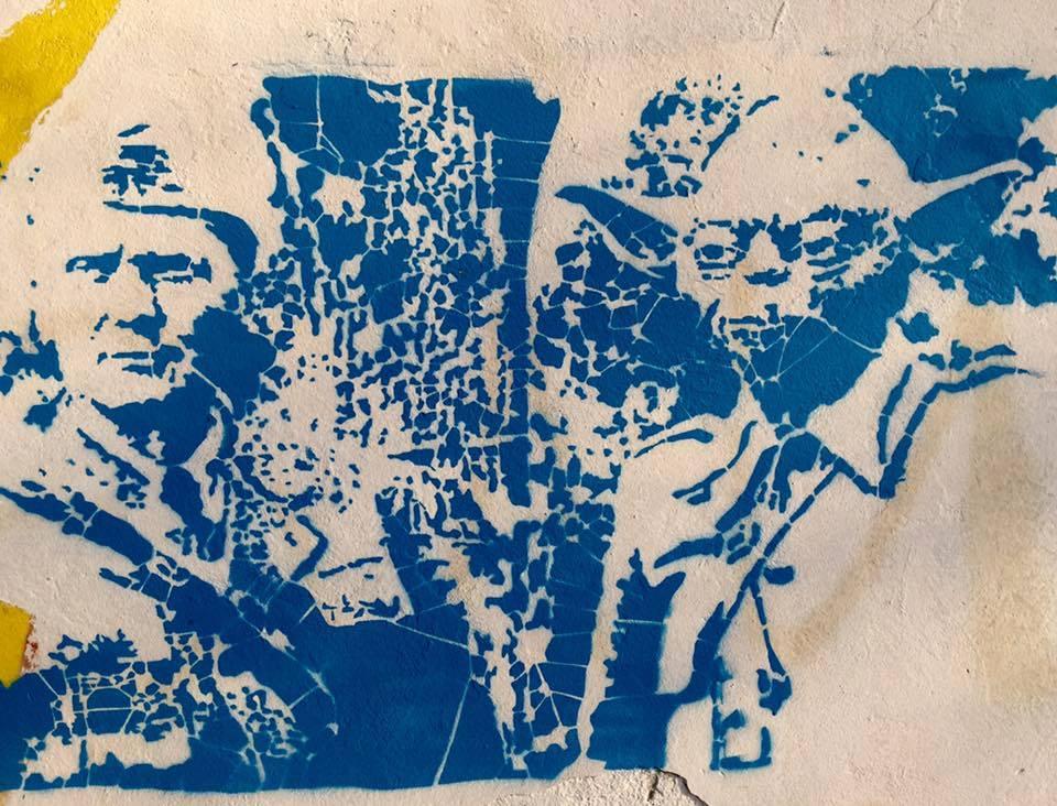 Stencil, Palić: Tito i Yoda. Palić. Železnička stanica. WC. Tito. Yoda.