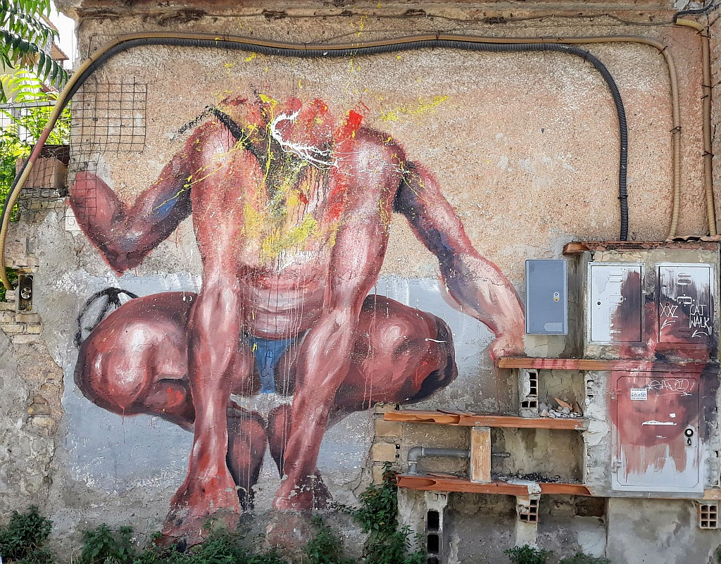 NLO, Prenestino: A man without a head. pigneto. Rome. Italy.