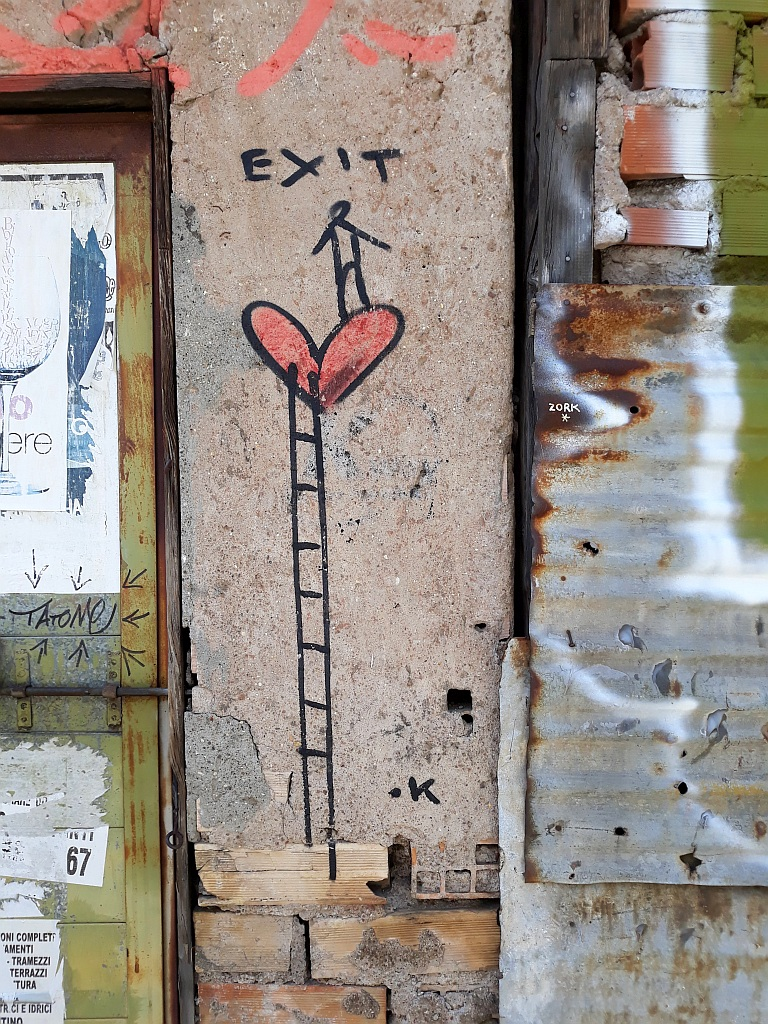 Grafit, Prenestino: Exit is Love. Exit.Enter.K. pigneto. Rome. Italy.