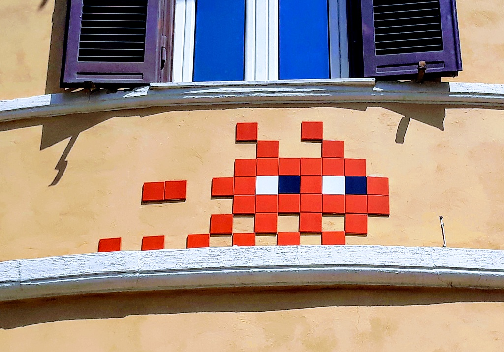 Paste-UP, Prenestino: Invader was here. Invader was here. Space Invaders. Rome. Italy.