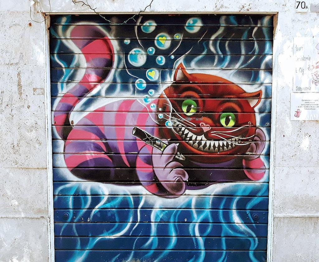 Grafit, Trevi: the Cheshire Cat . Rome. Italy.