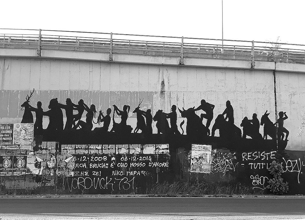 Grafit, Prenestino: Pigneto. mural. Rome. Italy.