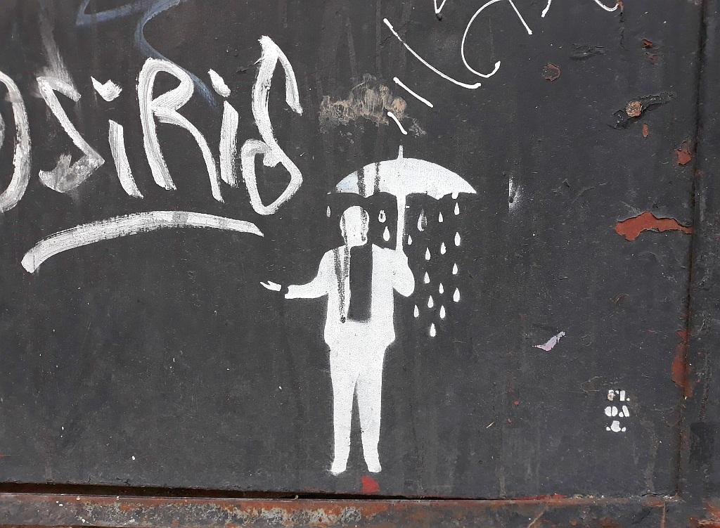 Stencil, Prenestino: Rainy man.