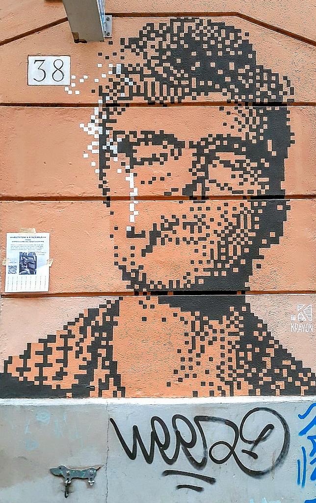 Grafit, Prenestino: Morrissey. Rome. Italy. mural.