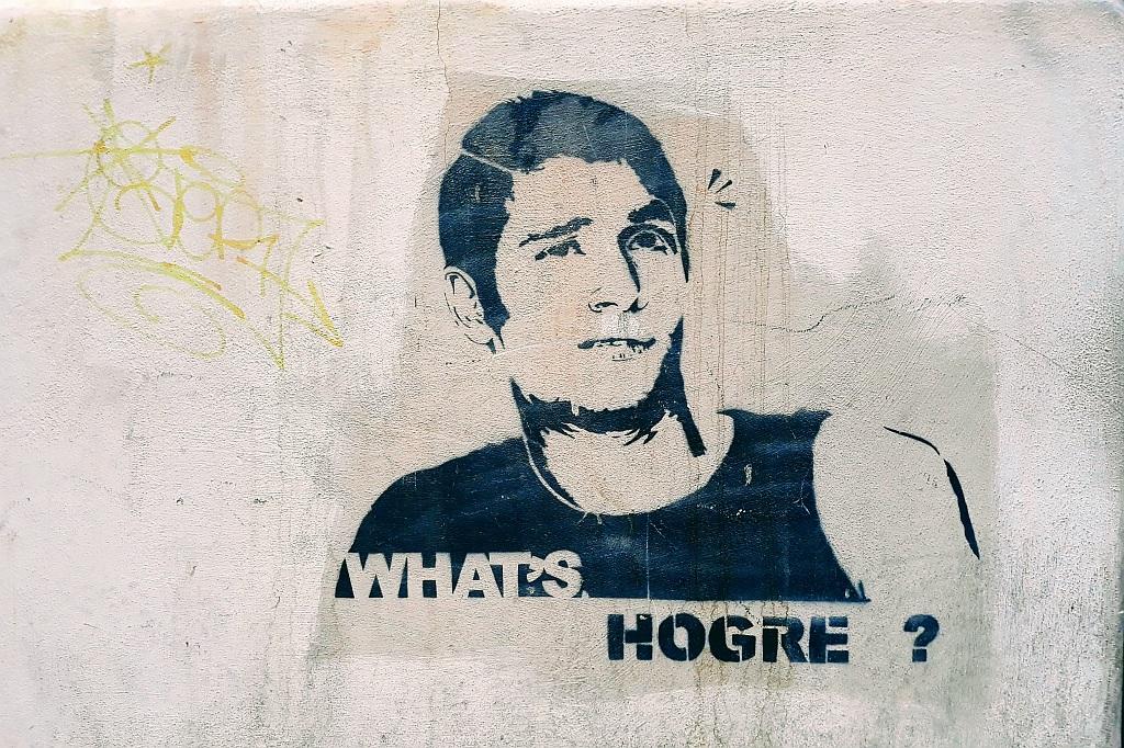 Stencil, Prenestino: What`s Hogre?. Hogre. Rome. Italy.