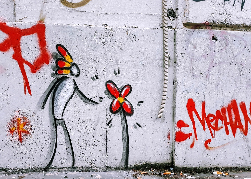Grafit, Prenestino: flower. Exit.Enter.K. Rome. Italy.