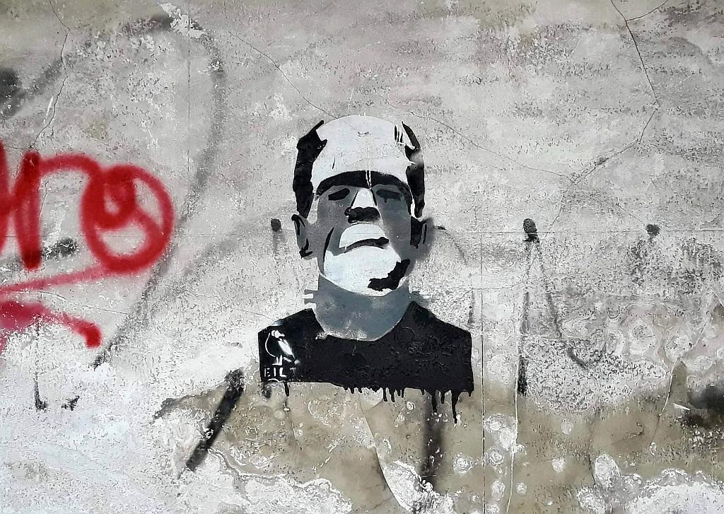 Stencil, Prenestino: Frankenstein. Rome. Italy.
