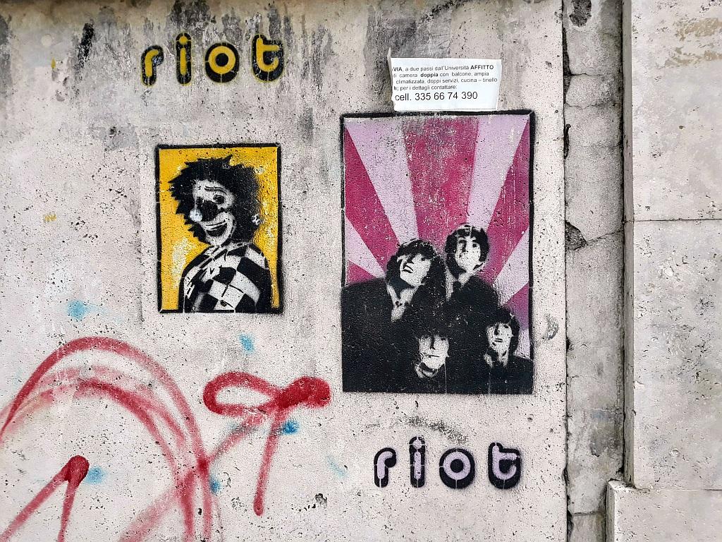 Stencil, Prenestino: Riot. Rome. Italy.