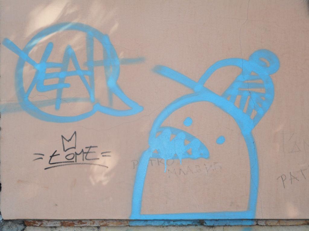Grafit, Stari Grad: Yeah. grafit graffiti street art beograd belgrade stencil marker paste ulična umetnost sprej.
