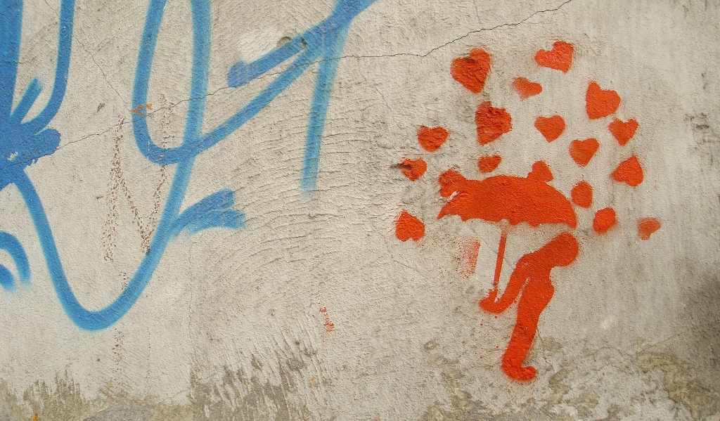 Stencil, Stari Grad: Love hurts. Beograd.