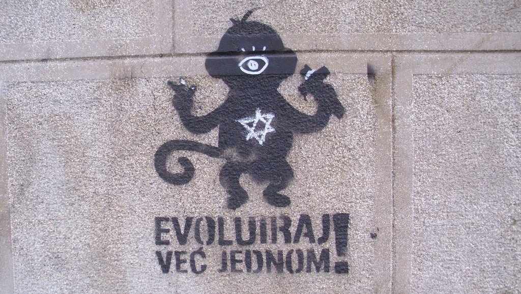 Stencil, Dorćol (historical): Evoluiraj već jednom. Beograd.