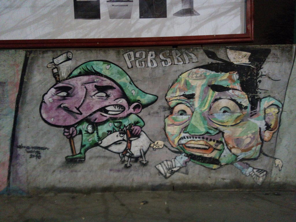 Grafit, Karaburma: 2 dečaka i pas. grafit graffiti street art beograd belgrade stencil marker paste ulična umetnost sprej mural zid.