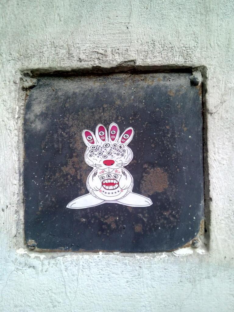 Paste-UP, Dorćol: Mnogooki zeka. grafit graffiti street art beograd belgrade stencil marker paste ulična umetnost sprej mural zid.