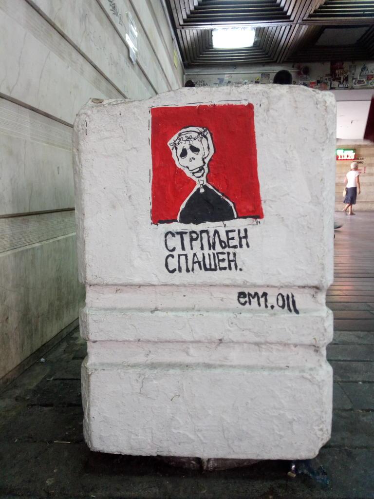 Stencil, Stari Grad: Strpljen spašen. grafit graffiti street art beograd belgrade stencil marker paste ulična umetnost sprej mural zid.