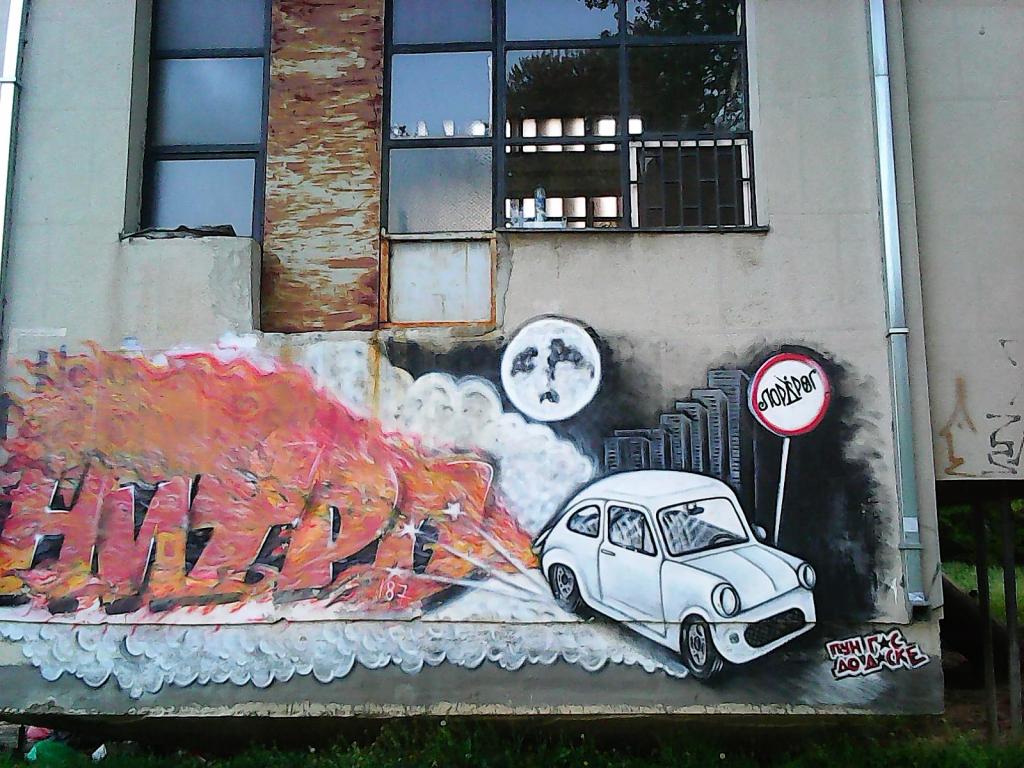 Grafit, Bežanija: Nitro. grafit graffiti street art beograd belgrade stencil marker.