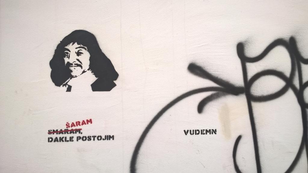 Stencil, Stari Grad: Šaram / smaram, dakle postojim. vudemn.