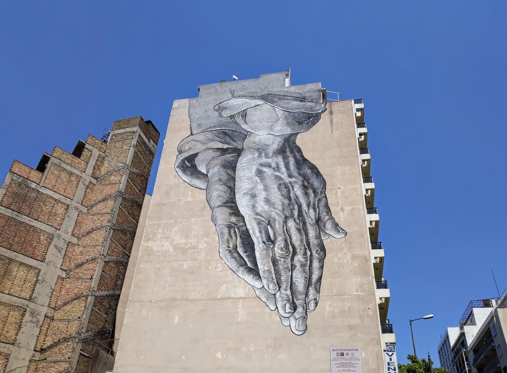 Grafit, Athens: Hands. mural. athens.