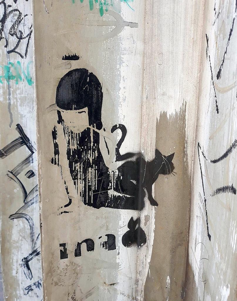 Stencil, Prenestino: Black Cat Lady . pigneto. Rome. Italy.
