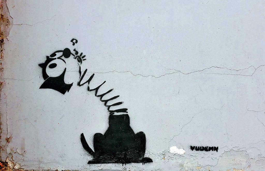 Stencil, Belgrade: Felix the Cat. vudemn.