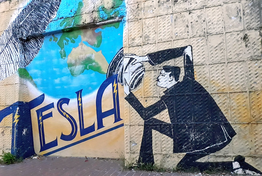 Grafit, Šalata: Nikola Tesla. Zagreb. Croatia.