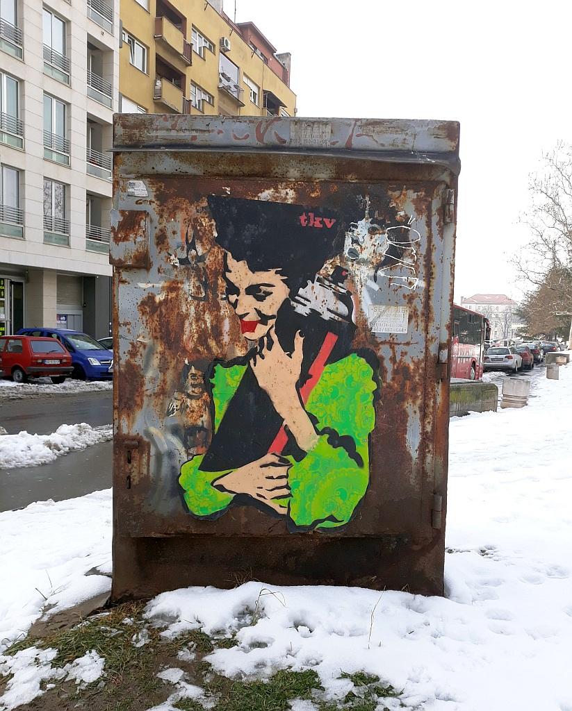 Stencil, Vračar: Spray N  Love. stencil. TKV. Vračar.
